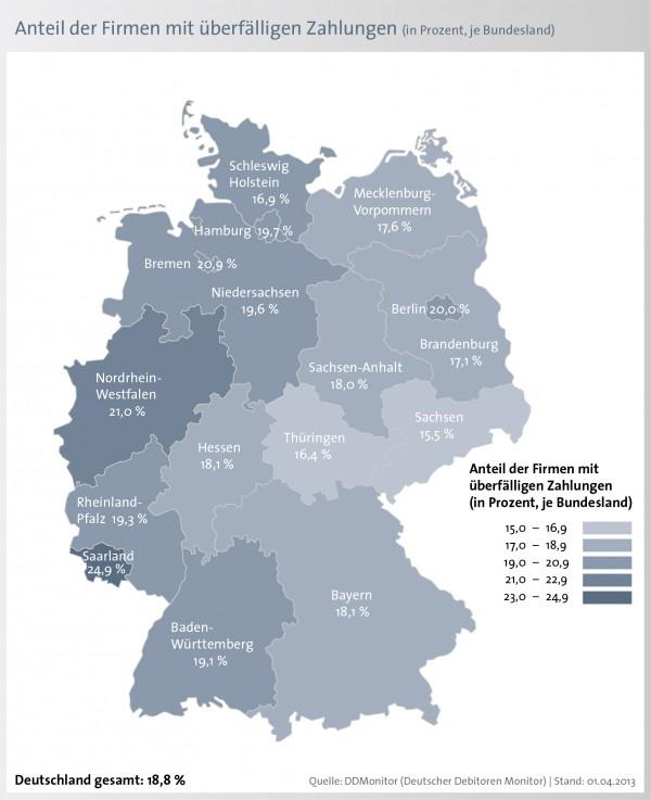 Zahlungsmoral deutscher Unternehmen / 18,8 Prozent der Unternehmen zahlen im MäŠrz 2013 ihre Rechnungen verspŠätet